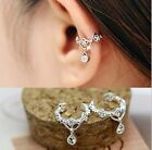 Women Ear Cuff Wrap Rhinestone crystal Clip On Earrings Silver/Gold Jewelry