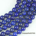 "Natural Lapis Lazuli Gemstone Round Ball Loose Beads 15.5"" 4mm,6mm,8mm,10mm"