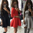 Fashion New Women Back Zipper 3/4 Sleeve Pleated Solid Evening Party Dress EA
