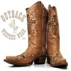 Circle G by Corral Women's Antique Brown Cross Stitched Snip Toe Boots L5061
