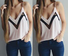 Sexy Women V-neck Sleeveless Blouse Vest Tank Top Chiffon Casual Summer T-Shirt