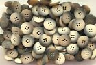 12mm 15mm 20mm 25mm Natural Beige Brown Wood Effect Shirt 4 Hole Buttons W62-65