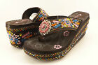 "Montana West Aztec Hippy 3"" Wedge Pink Concho Flip Flops Brown 7 8 10 11"