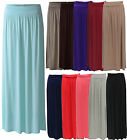 WOMEN LADIES FOLD OVER WAIST LONG VISCOUS JERSEY GYPSY PLEATED MAXI SKIRT 8-14
