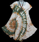 New Peasant Unique Summer Spring Top Short Dress Tunic Tie Dye One Size L XL