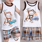 Summer Baby Boy Toddler Casual T-shirt Tops+Stripe Pants 2pcs Outfits Set 1-7Y