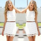 Fashion Sexy Women Casual Sleeveless Two Piece Set Lace Cocktail Summer Dress AU