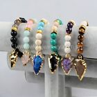 1 Strand Rough 10mm Mixed Stone Beads & Quartz Arrowhead Bracelet QG0752