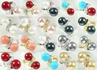 fashion twins 10mm white black pink blue red shell pearl 18 KGP ring
