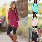 UK Hot Fashion Women's Long Sleeve Casual Lace Blouse Loose Cotton Tops T-Shirt