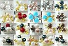 white pink gray black red blue yellow coffee sea shell pearl 18 KGP flower ring