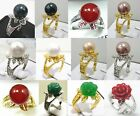 charm white pink purple black red green shell pearl jade 18 KGP flower ring