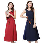 Women Sexy Summer Retro Sleeveless Cotton Linen Loose Casual Maxi Workwear Dress