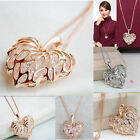 Fashion Women Gold Plated Heart Bib Statement Chain Pendant Necklace Jewelry NEW