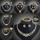 Costume Bride Wedding Necklace Earrings Ring Bracelet Gold Plated Jewelry Set