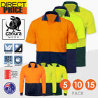 5 10 15x Hi Vis Polo Shirt Short Long Sleeve Work wear Safety Contrast Cool Dry