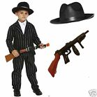 Boys 20s Gangster Bugsy Malone Zoot Suit Hat Tie Gun Fancy Dress Costume 4-12