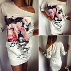 Sexy Women Off The Shoulder Dress Floral Print Evening Party Bodycon Shirt Dress