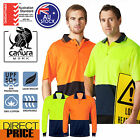New Hi Vis Polo Shirt Short Long Sleeve Cotton Backed Workwear Safety Contrast
