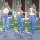 NEW LADIES RIPPED SKINNY FIT COLOURED STRETCHY JEANS WOMENS JEGGINGS SIZE 8-12