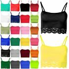 Womens Ladies Sleeveless Cami Lace Trim T Shirt Blouse Tee Vest Cropped Top