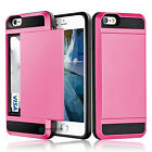 Card Pocket Wallet ShockProof Hybrid Armor Case Cover for iPhone Samsung Galaxy