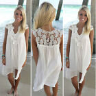 Sexy Women Summer Casual Sleeveless Evening Party Beach Dress Short Mini Dress D