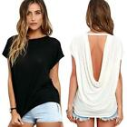 Fashion Women Batwing Sleeve Shirt polyester Loose Casual Backless Tops Blouse