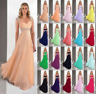 Stock Chiffon Straps Long Formal Ball Evening Party Bridesmaid Dress Size 6-18