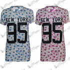 Womens Ladies Floral New York Oversized Number 95 Varsity T Shirt Dress Long Top