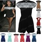 Womens Ladies Celeb Cap Sleeve Net Flared Back Zip Lace Top All in One Playsuit