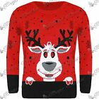 New Womens Ladies Mens Retro Novelty Reindeer Face Knitted Christmas Jumper Top
