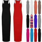 Womens Ladies Bodycon Muscle Racer Back Speghetti Strap Full Length Maxi Dress
