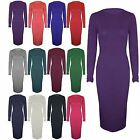Womens Long Sleeve Stretch Jersey Ladies Round Neck Midi Bodycon Dress 8 10 1214