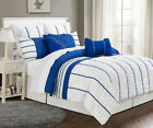 12 Piece Villa Blue and White Bed in a Bag w/600TC Cotton Sheet Set