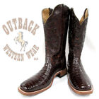 Boulet Men's Outack Exclusive Tooled Chocolate Belly Caiman Boots 3510X