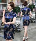 Chinese Dragon Phoenix Women's Silk Saitn Mini Dress Cheongsam Dark Blue S - 6XL