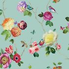 Arthouse Charmed Teal Wallpaper Nature Floral Birds Rose Flower 889800