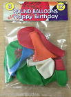 """12"""" inch Coloured Happy Birthday Printed Balloons Mixed Colours Pack of 8"""