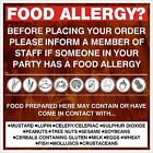 FOOD ALLERGY sticker Printed UV Laminated Food Sticker Cafe, Ice Cream Van