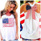 Sexy Women American USA Flag Pattern Print Backless Vest Shirt T-Shirt Tank Top