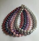 Glass Pearl Anklet Bracelet Magnetic Clasp - Many Colors