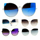 SA106 Retro Flat Lens Bat Shape Metal Rim Cat Eye Circle Sunglasses