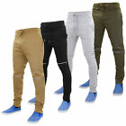 New Mens Skinny Biker Style Jogging Bottoms Cuff Rib Waistband Low Rise Joggers