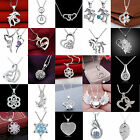 Women Fashion 925 Sterling Silver Crystal Heart Pendant Necklace Chain Jewelry A