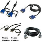 Standard 15 Pin SVGA VGA Male to MALE M-M PC Monitor TV Cable Support Full 1080p