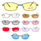 Spring Hinge Retro Small Narrow Rectangular Color Lens Metal Frame Sunglasses