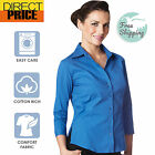 Ladies Shirt Blouse 3/4 Short Sleeve Stretch Fitted Business Office Wear-Blue