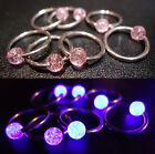 18g Surgical Steel Captive Ball Closure 10mm Ring BCR - Pink UV Glitter Balls
