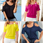 CHIC Women's Short Sleeve Shoulder Shirt Casual Blouse Loose Cotton Tops T Shirt